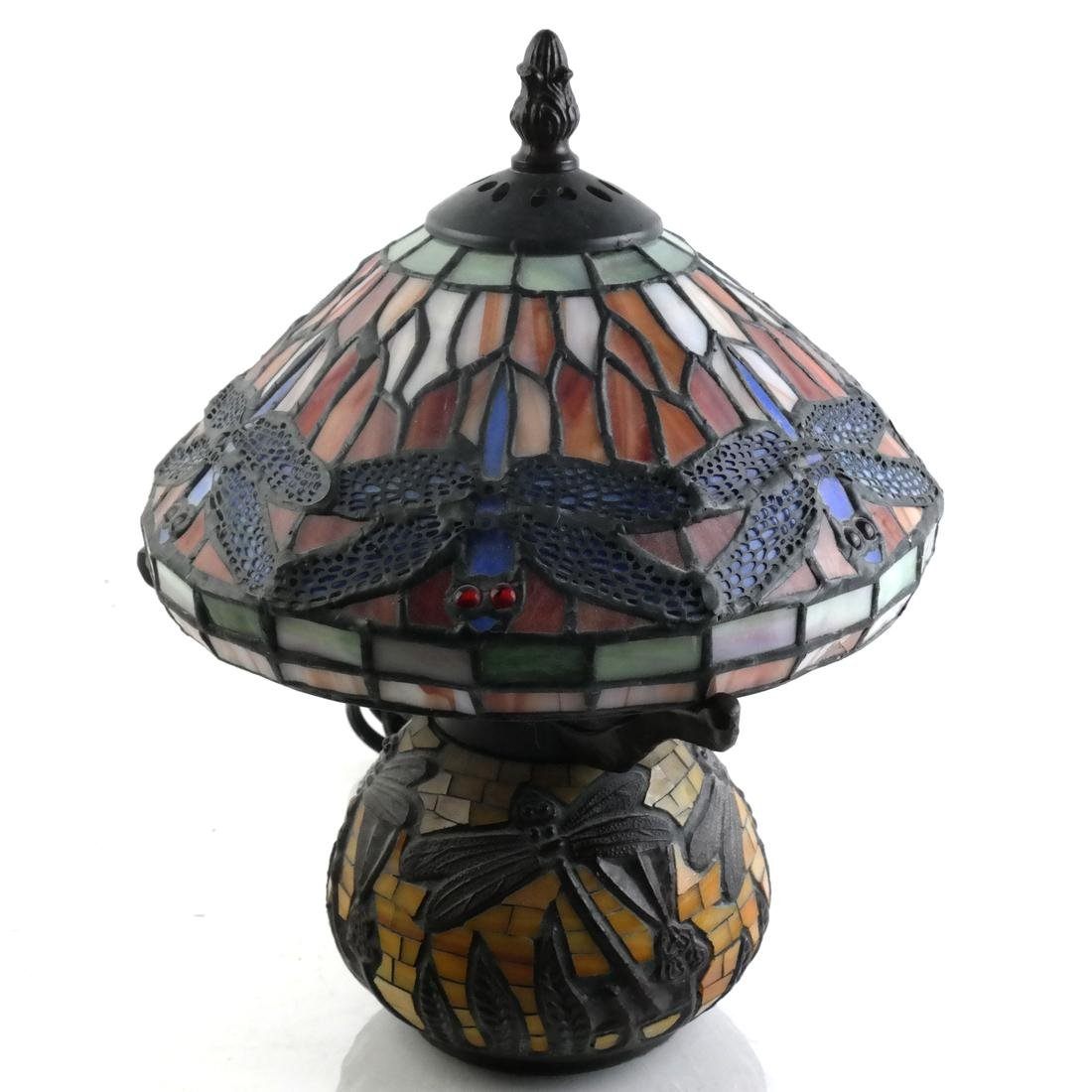 Tiffany-Style Bronze and Stained Glass Lamp