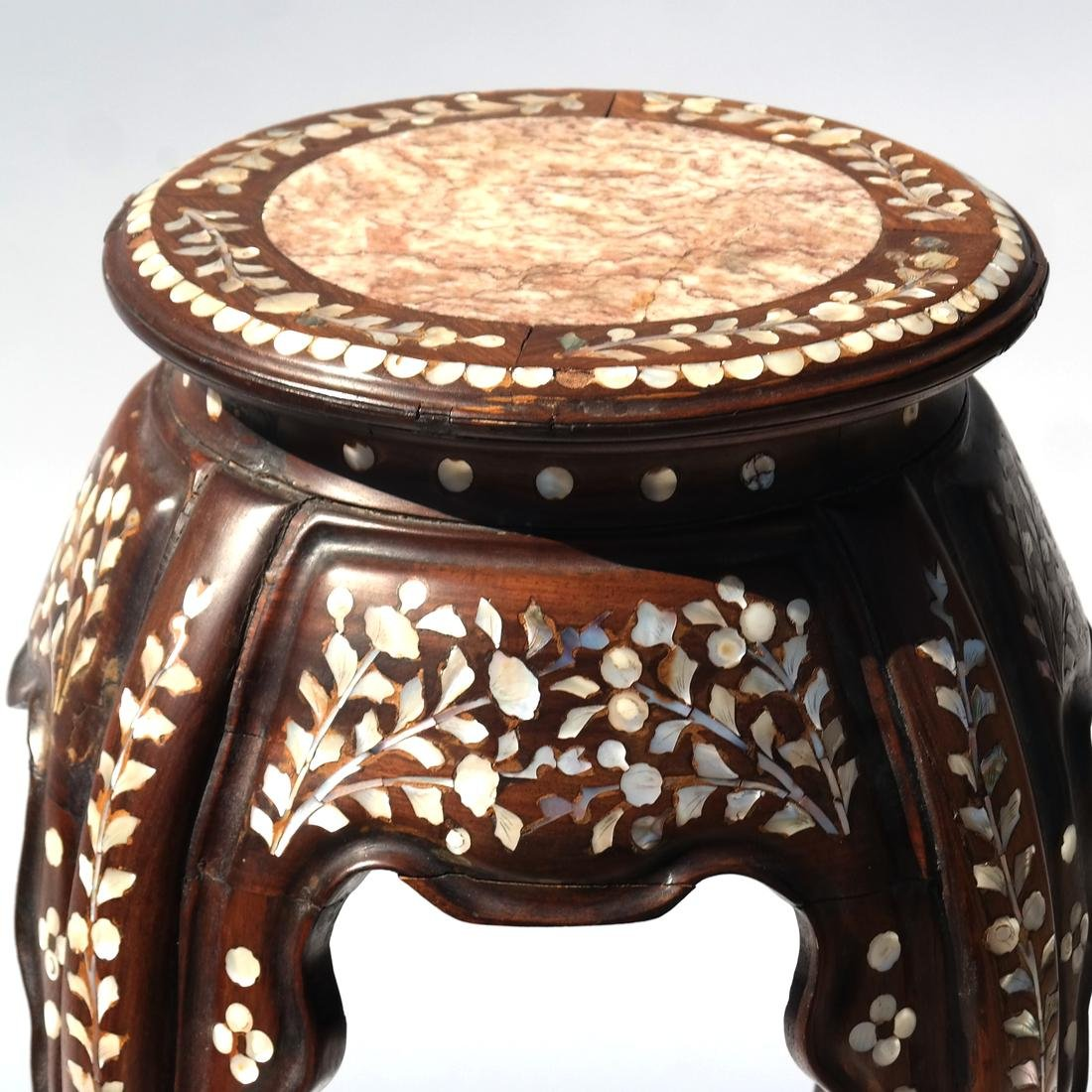 Indo-Chinese Marble Top Table/Pedestal - 2