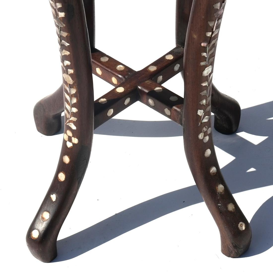 Indo-Chinese Marble Top Table/Pedestal - 3