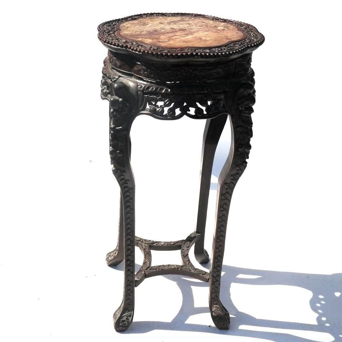 Chinese Carved Marble Top Table/Pedestal