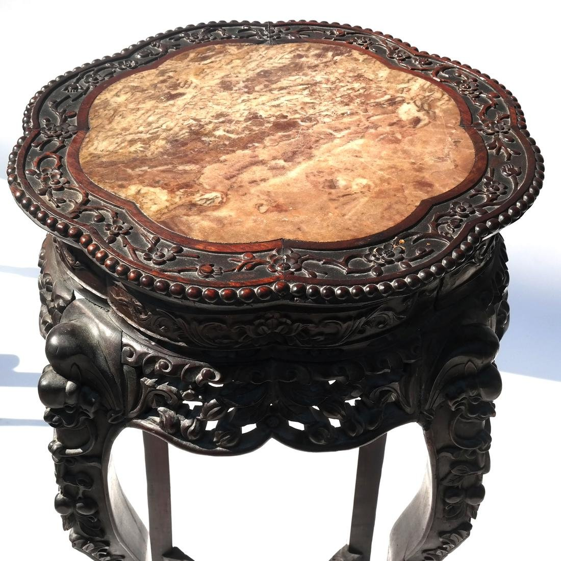 Chinese Carved Marble Top Table/Pedestal - 2