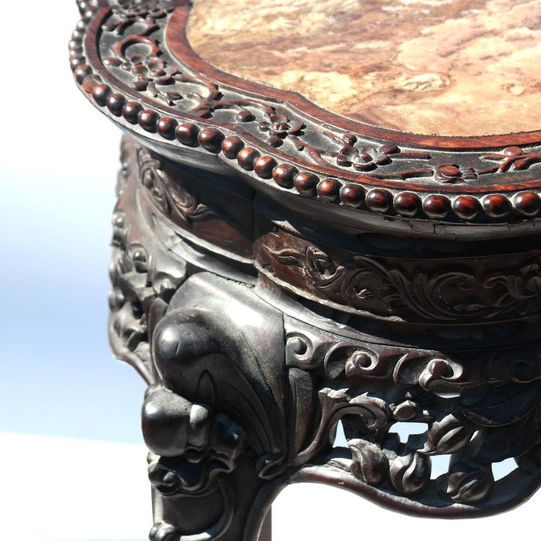 Chinese Carved Marble Top Table/Pedestal - 3