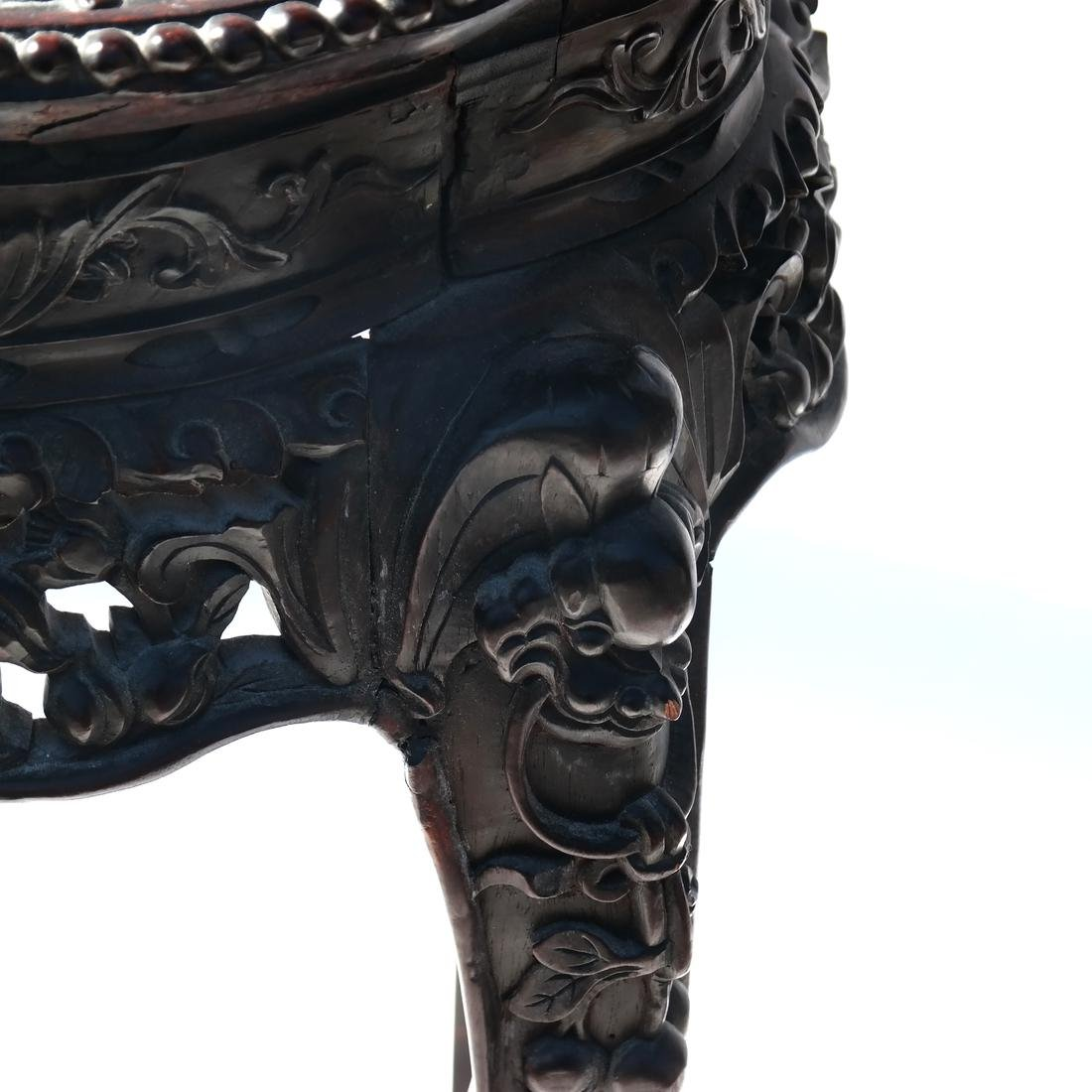 Chinese Carved Marble Top Table/Pedestal - 4