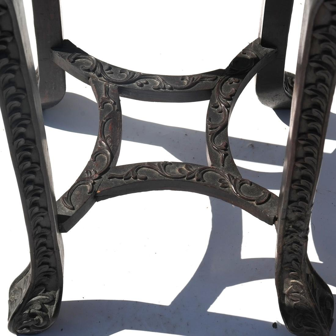 Chinese Carved Marble Top Table/Pedestal - 5