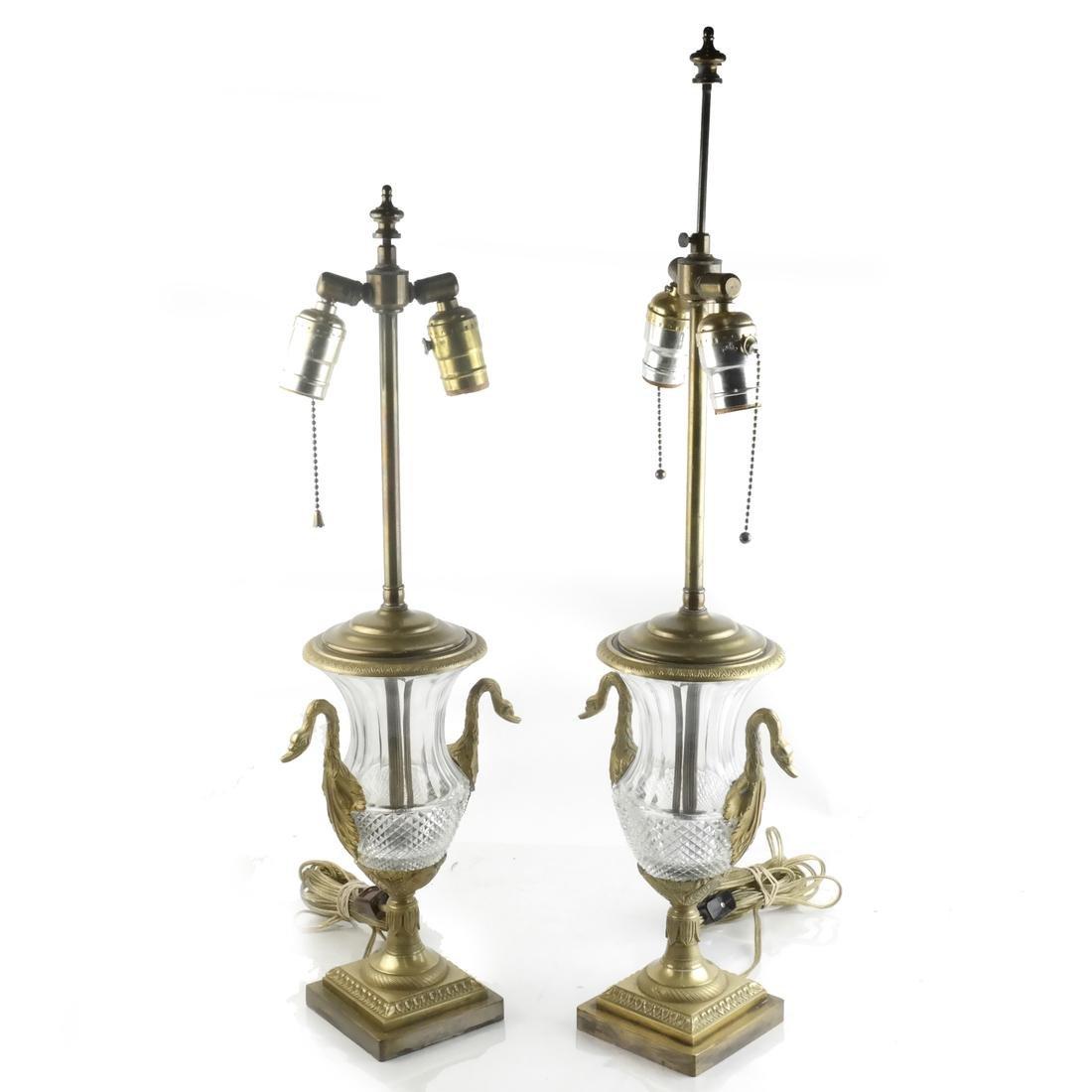 Pair of Classical Swan-Form Lamps