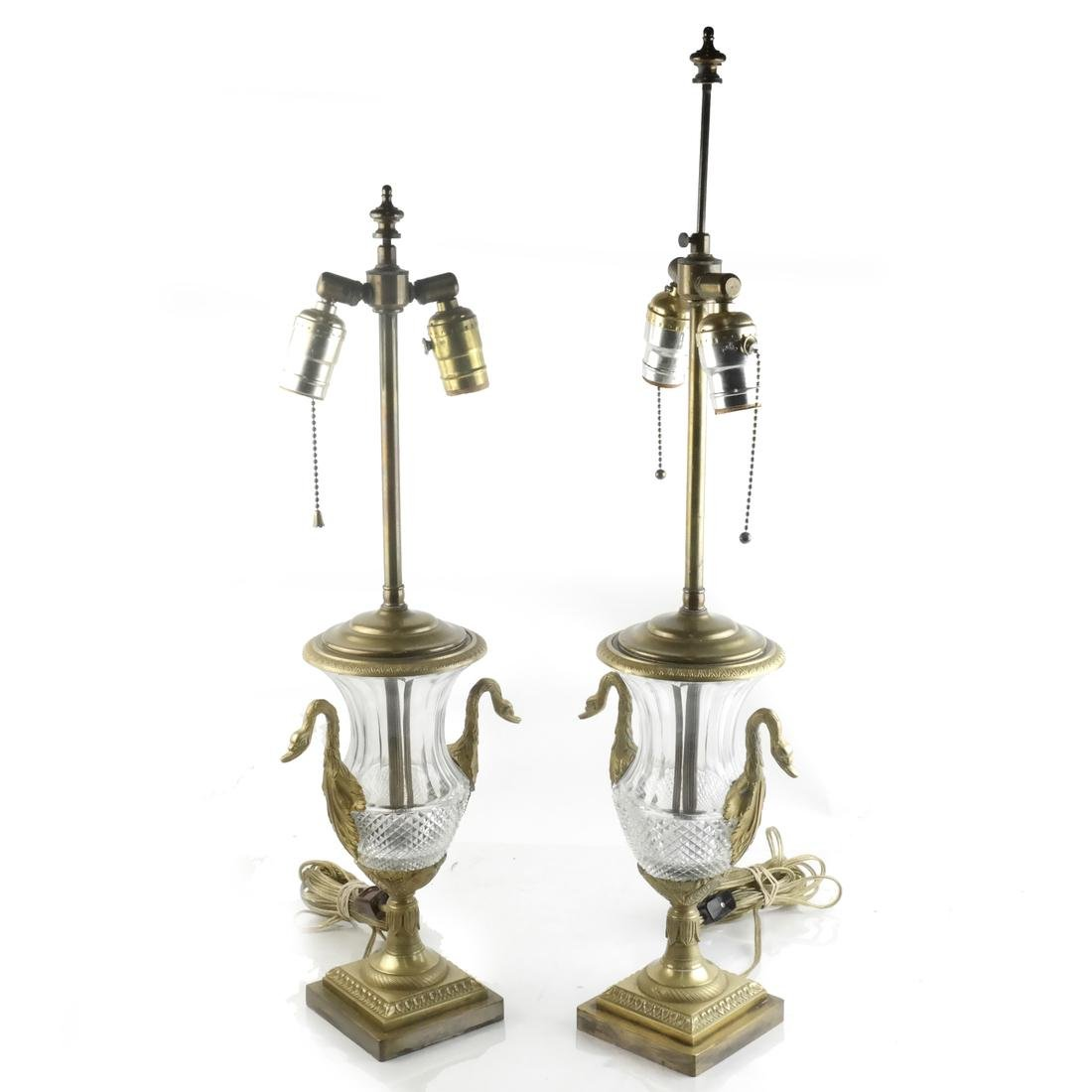 Pair of Classical Swan-Form Lamps