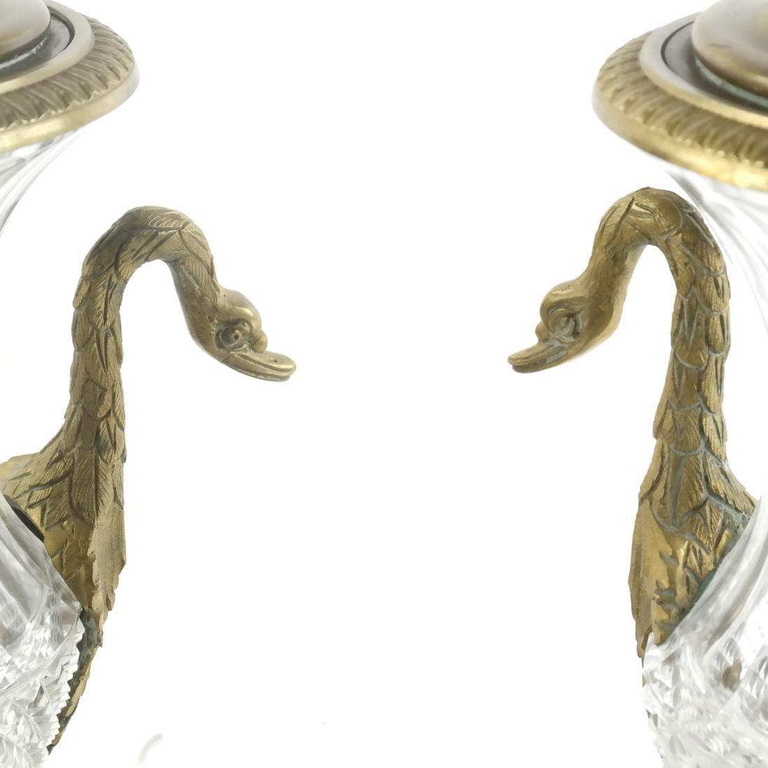 Pair of Classical Swan-Form Lamps - 2
