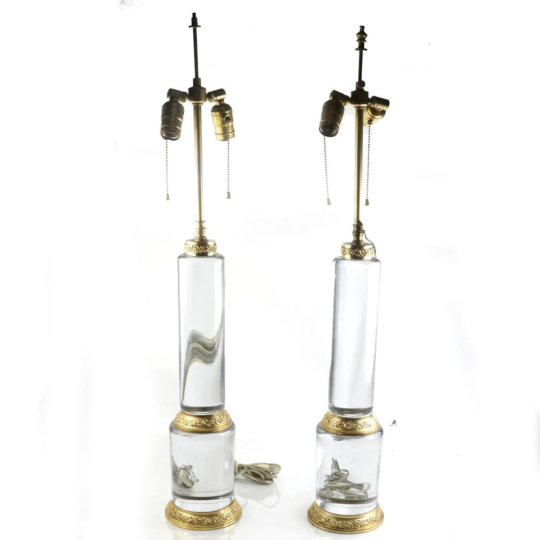 Pair of Contemporary Glass and Brass Column Lamps