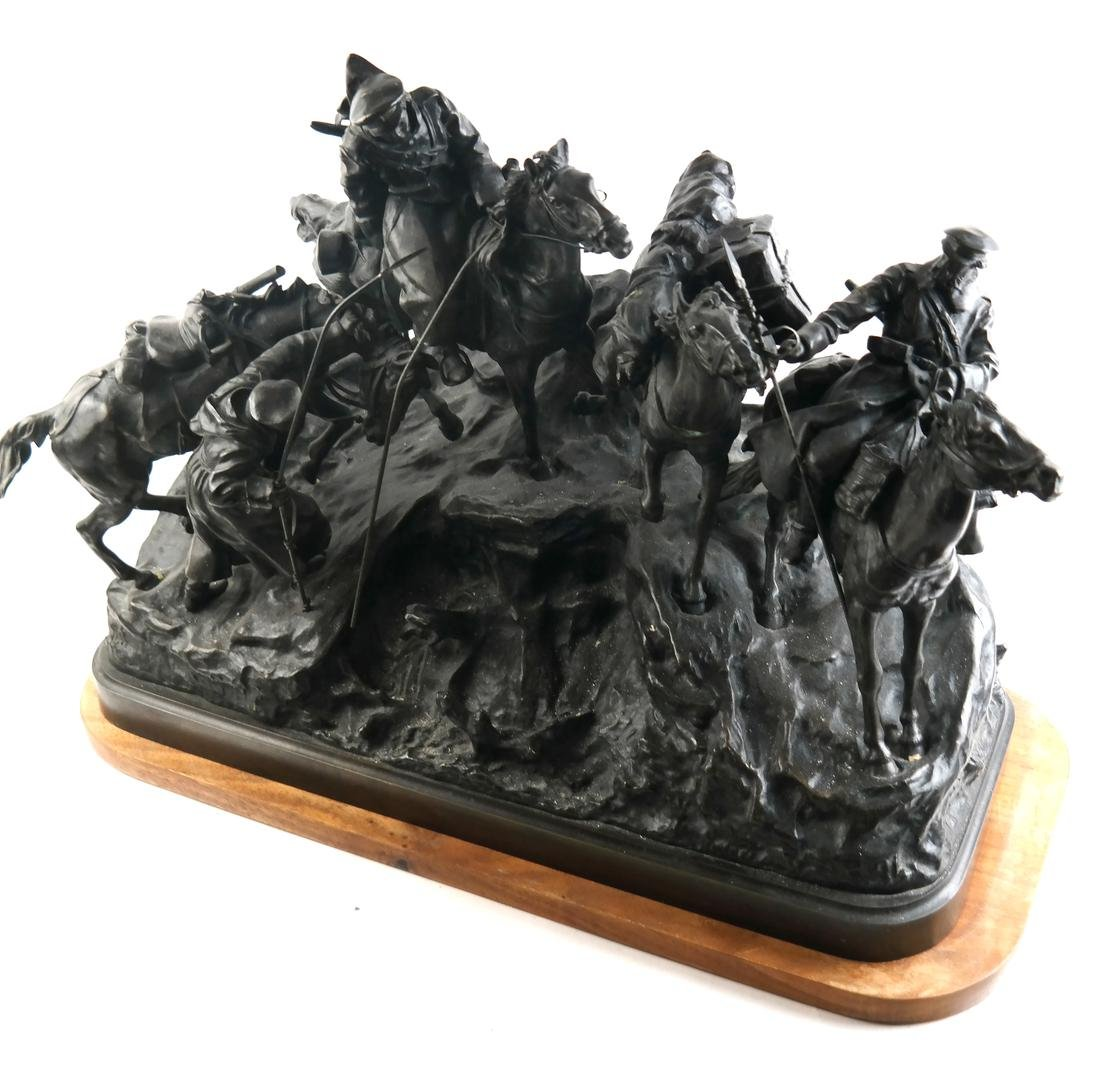 Antique Russian Bronze Group: Cossacks on Horseback