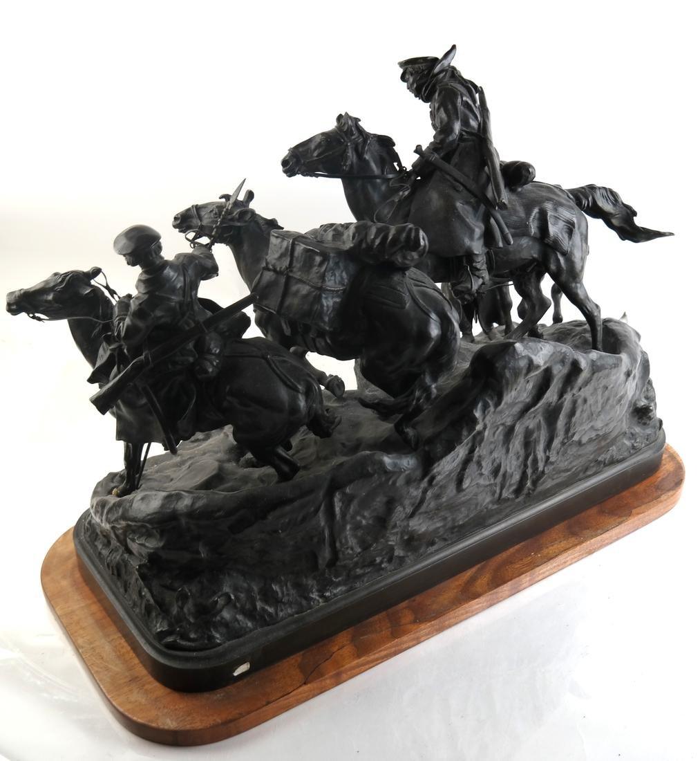 Antique Russian Bronze Group: Cossacks on Horseback - 2