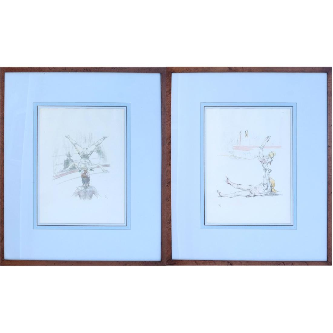 Pau Roig Catalan, Acrobats - Two Color Prints