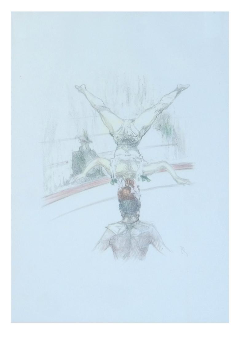 Pau Roig Catalan, Acrobats - Two Color Prints - 2