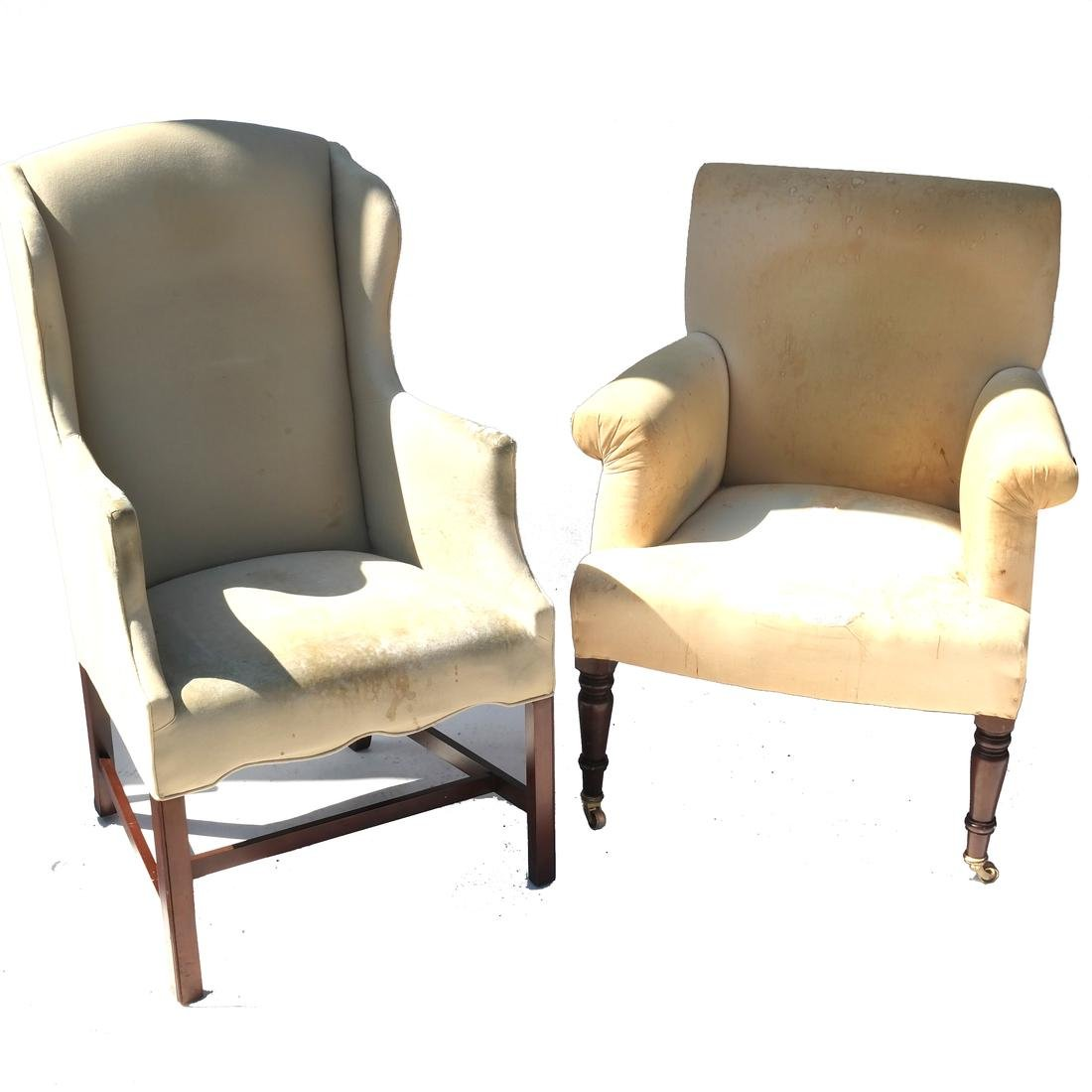 Antique English Library & Wing Chair