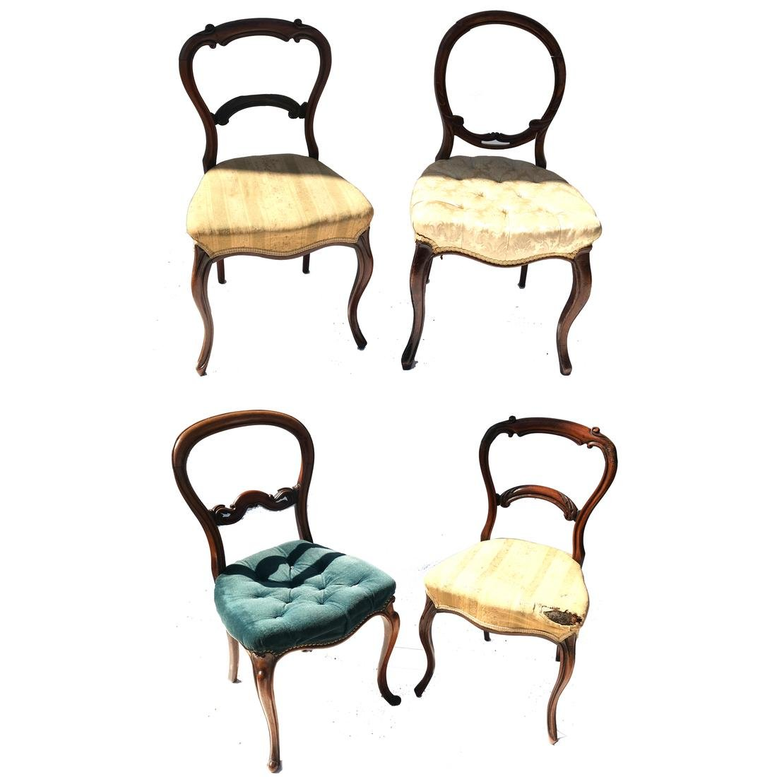 Antique English Victorian Balloon-Back Chairs