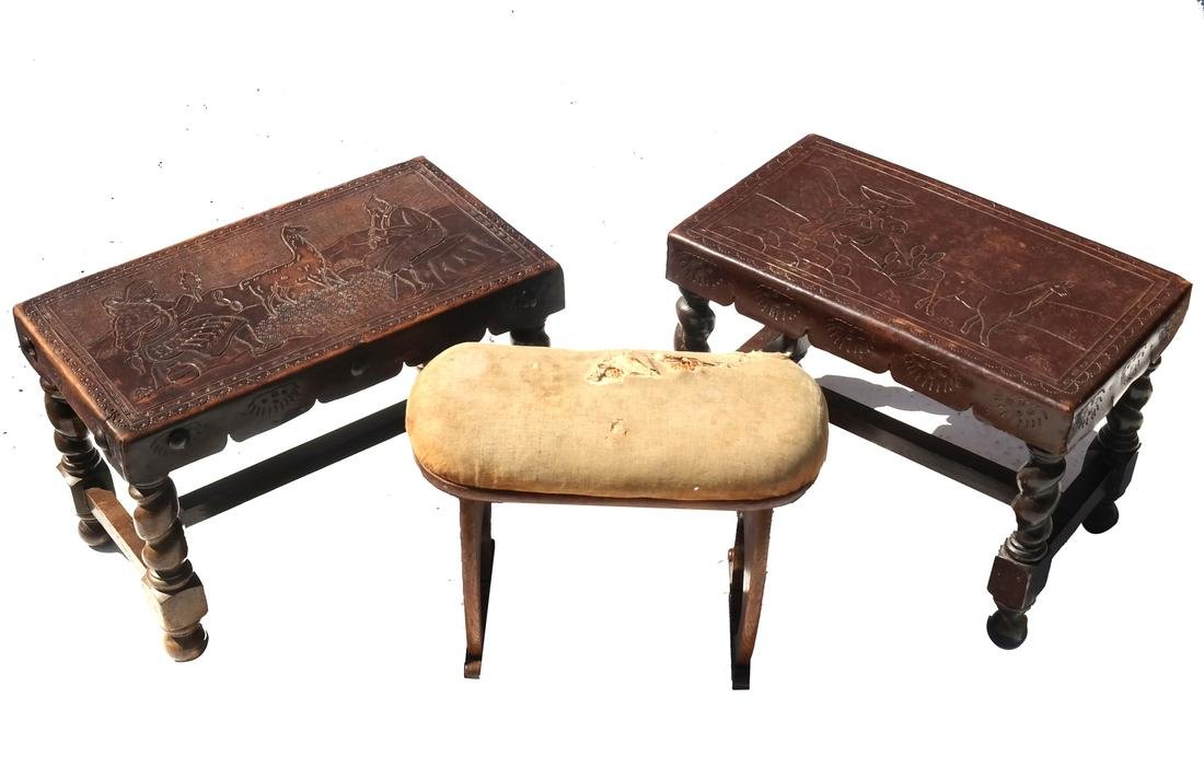 Pair of Peruvian Leather Top Stools, and Another