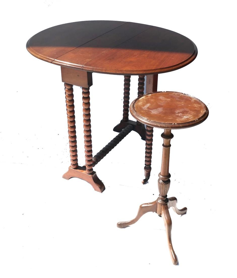 Stand, and Drop-Leaf Turned Leg Table
