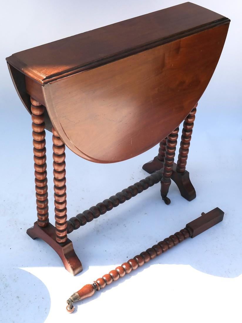 Stand, and Drop-Leaf Turned Leg Table - 5