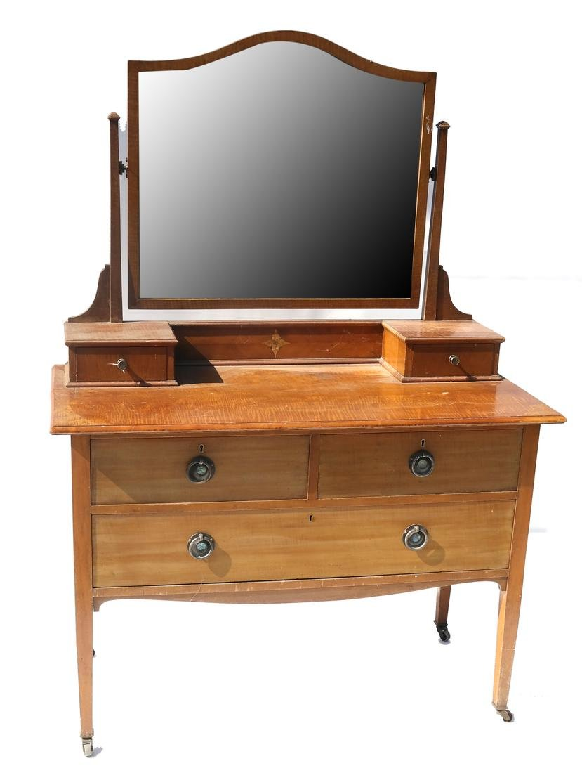 Tiger Maple Dressing Table and Mirror