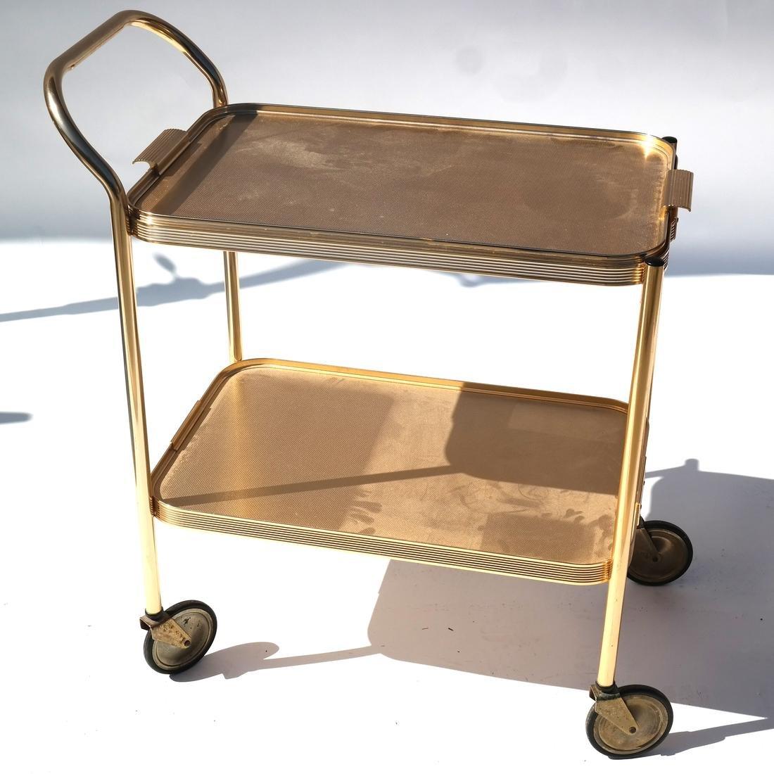 Silow Gold-Tone Rolling Cart