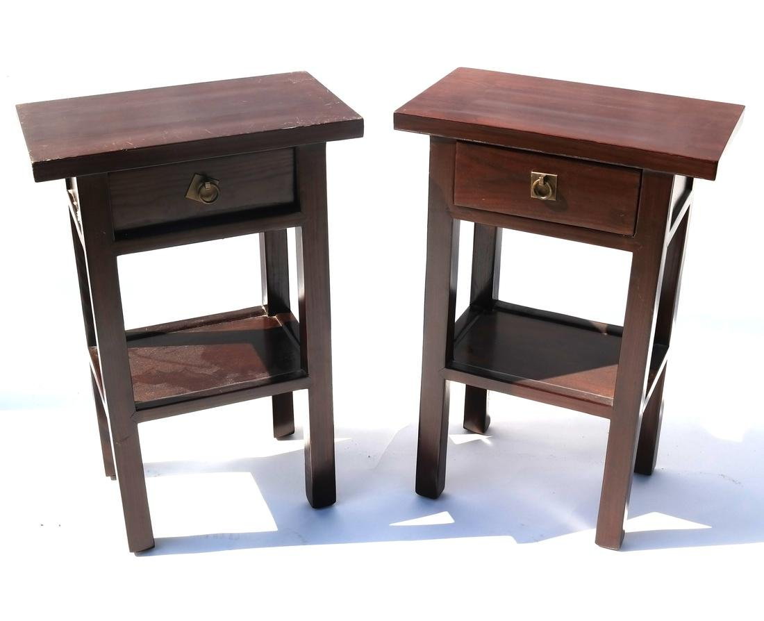 Pair of Asian Stained Night Stands