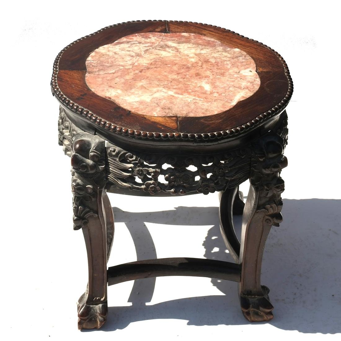 Chinese Teak Carved Wood Marble Inset Table-Tabouret