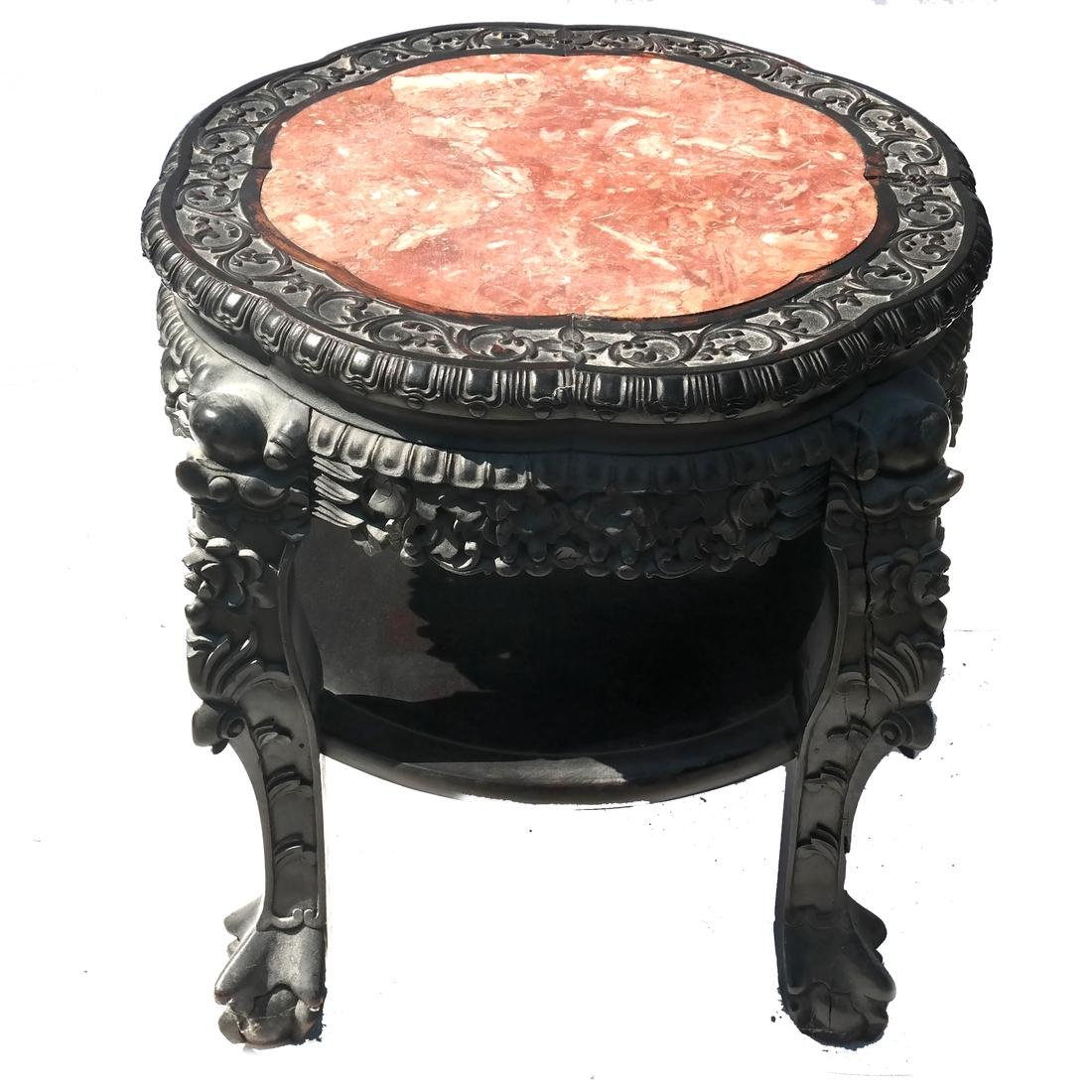 Chinese Carved Wood Marble Inset Table-Tabouret