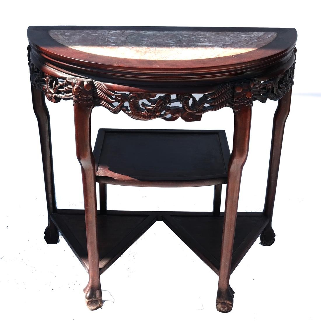 Chinese Carved Wood Marble-Topped Demilune Table