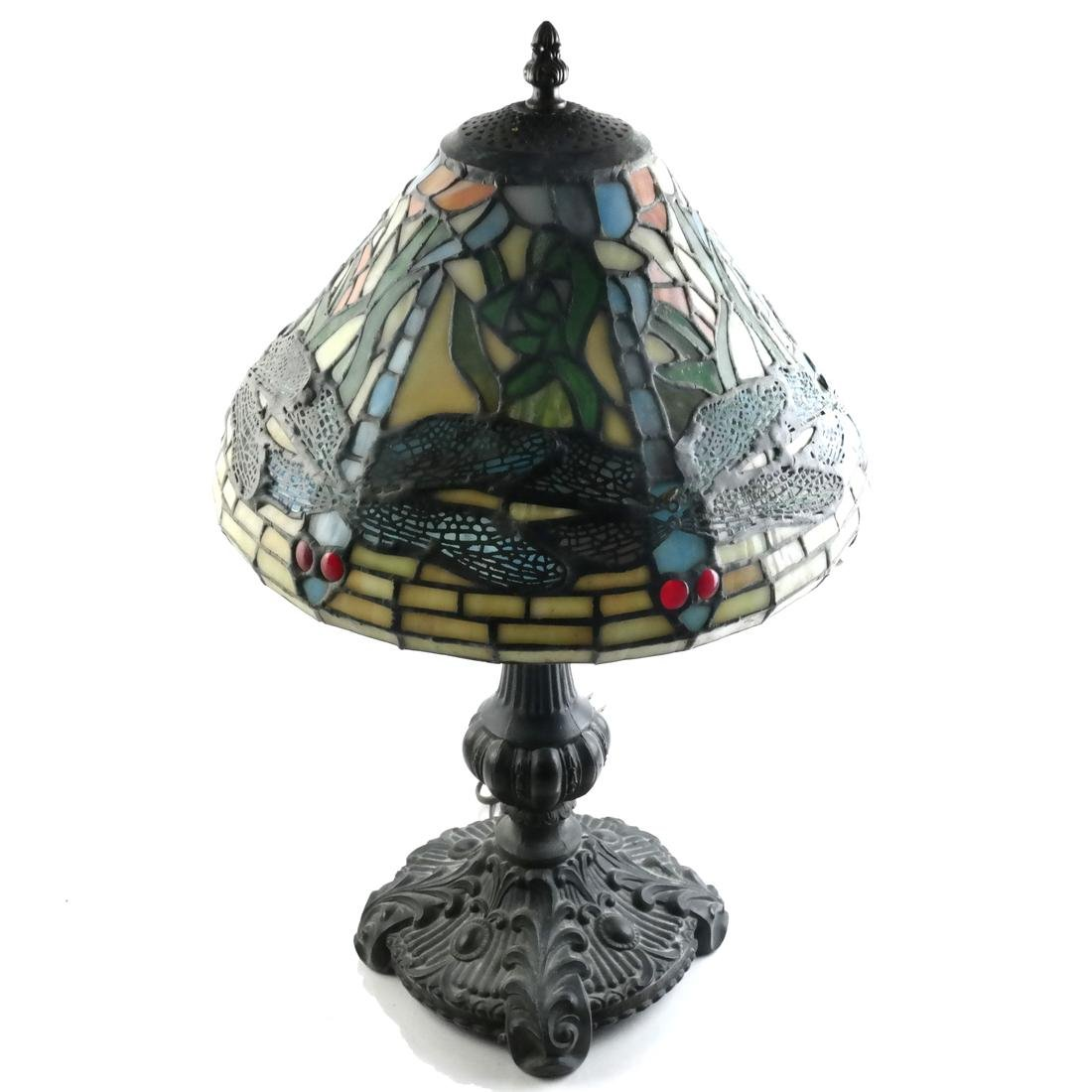 Tiffany-Style Lamp, Bronze Molded Base - Late 20th C.
