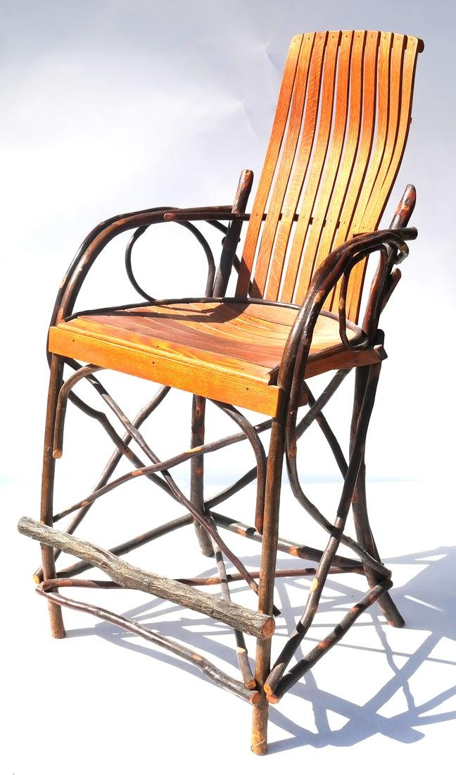 American Adirondack Rustic Oak & Twig Tall Chair