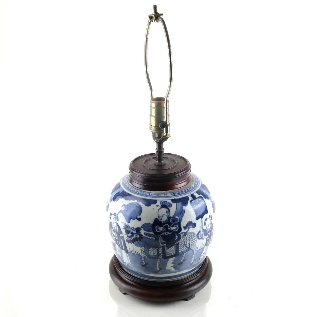 Antique Chinese Blue & White Lamp