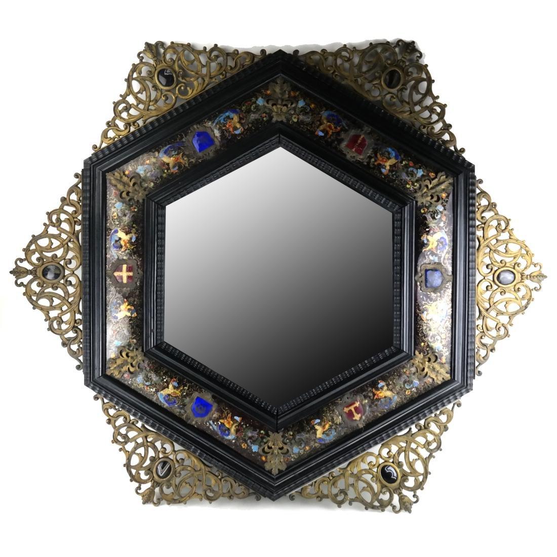 Antique English Enamel and Brass Hexagonal Mirror