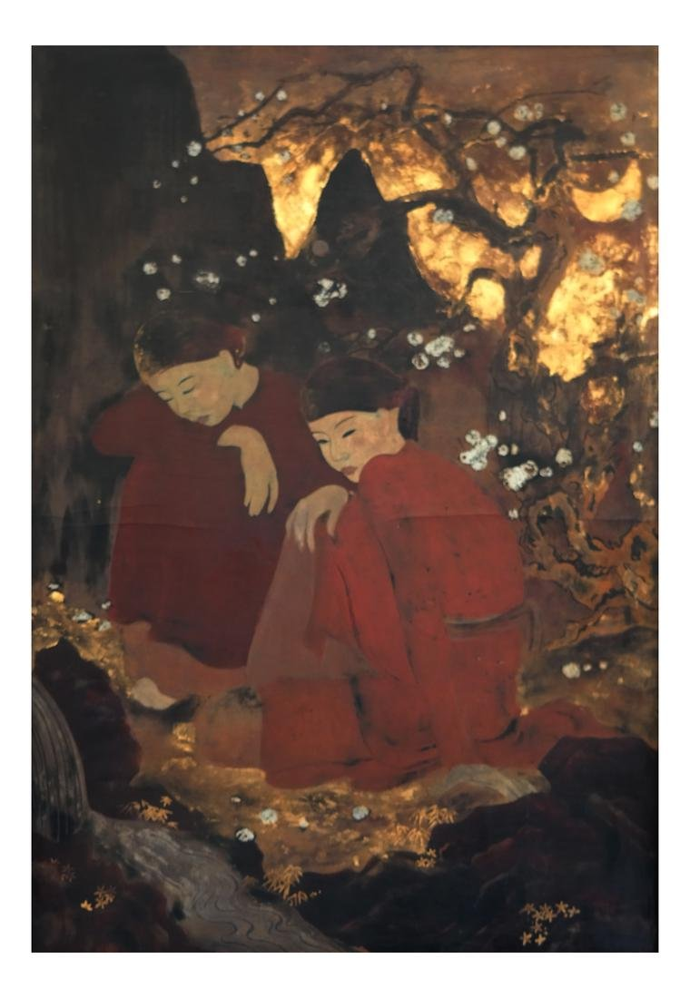 French Asian-Style Embellished Panel