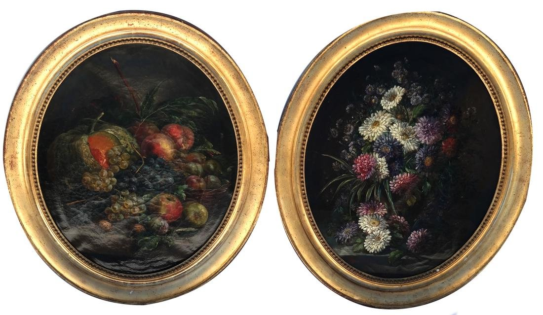 Duncan - Pair of Floral Still Lifes on Canvas