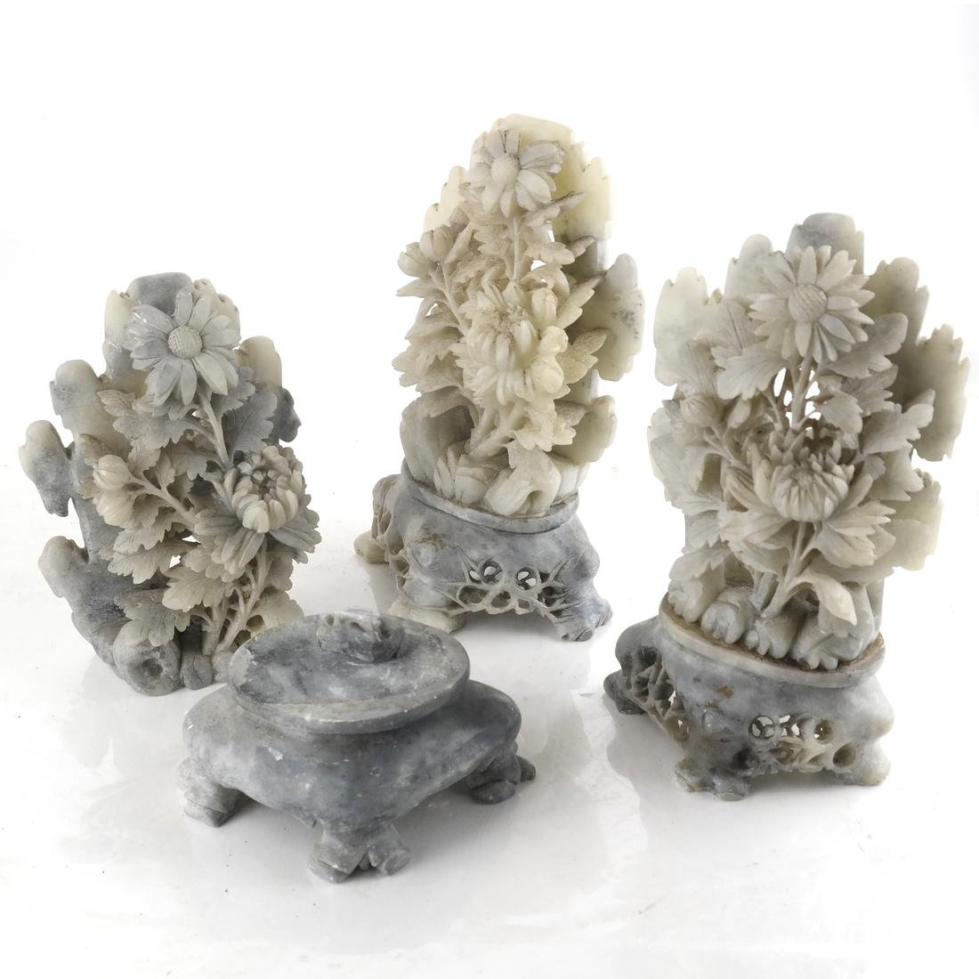Set of Three Soapstone and Hardstone Floral Sculptures