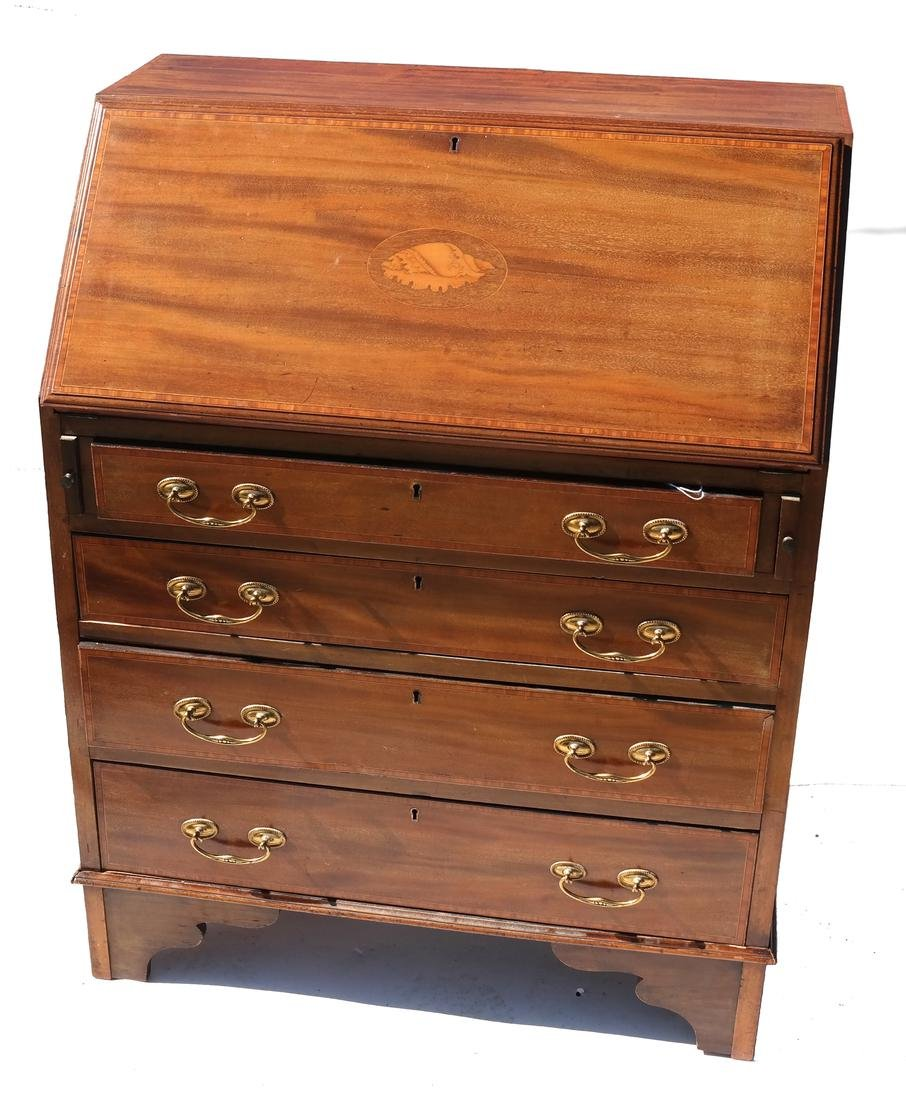 Chippendale-Style Inlaid Mahogany Slant-Front Desk