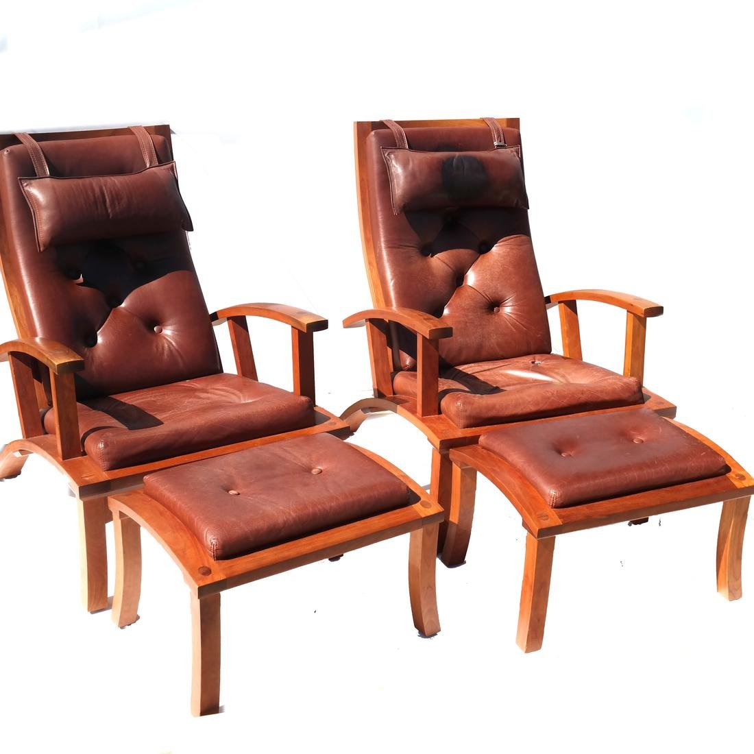 Pair of Tufted Armchairs With Matching Ottomans