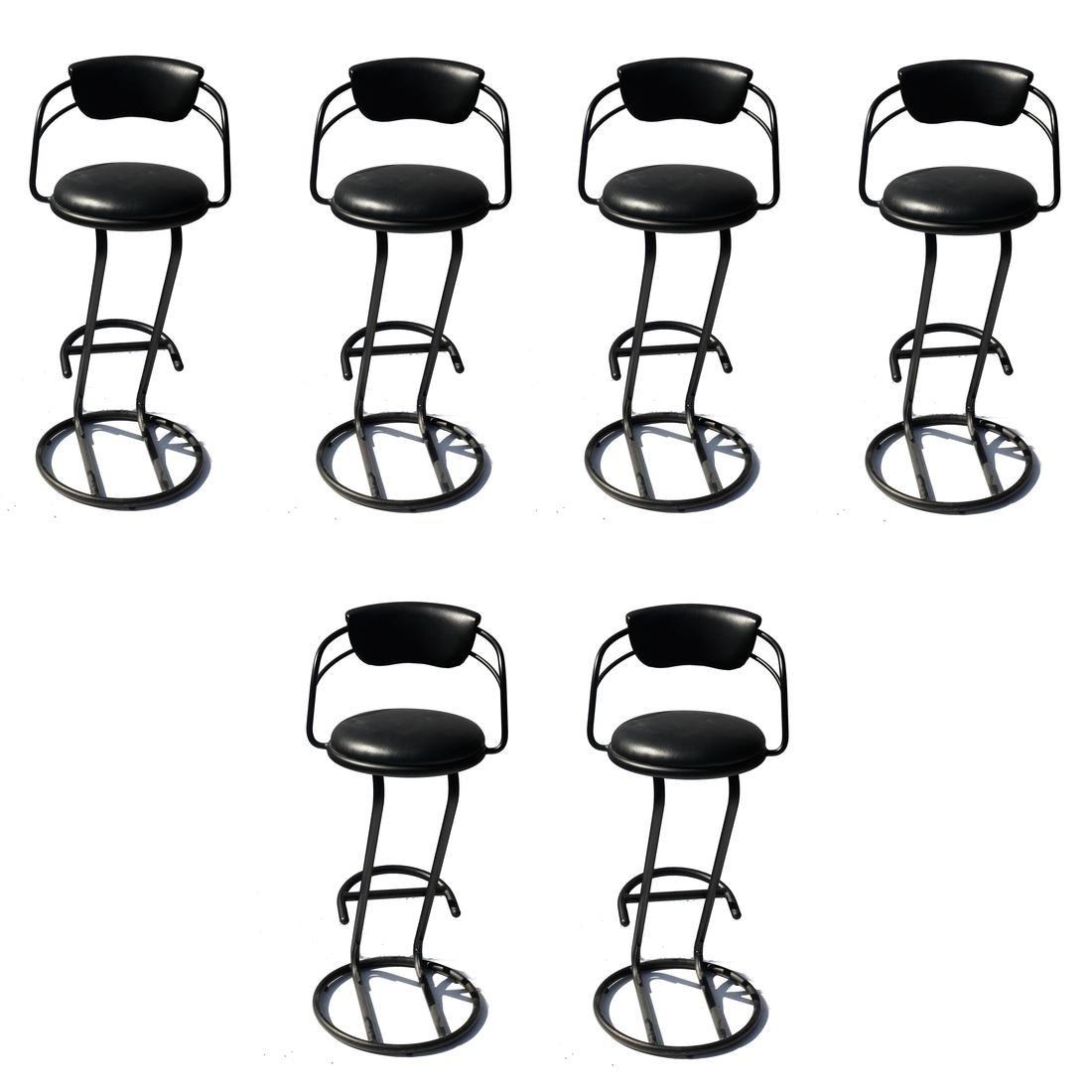 Set of Six Black Powder-Coated Steel Bar Stools