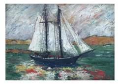 Attrib. to David Burliuk, Oil on Board - Ship at Sea