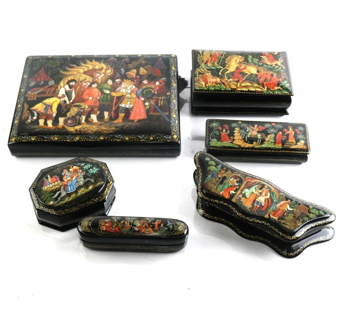 Russian Papier Mache Enamelled Boxes, Late 20th C.