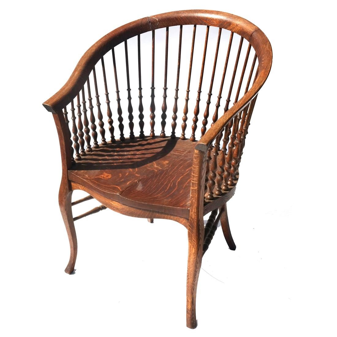 Victorian Oak Spindle-Turned Tub Chair