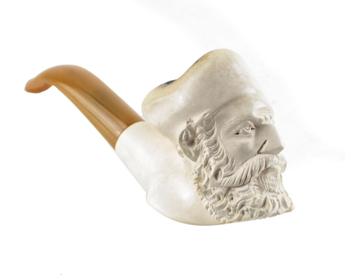 Carved Meerschaum Pipe, Saracen's Head, Leather Case