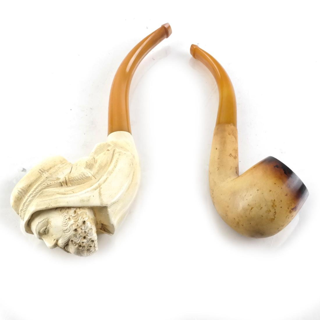 Antique Meerschaum Pipe, Arab's Head, with Another