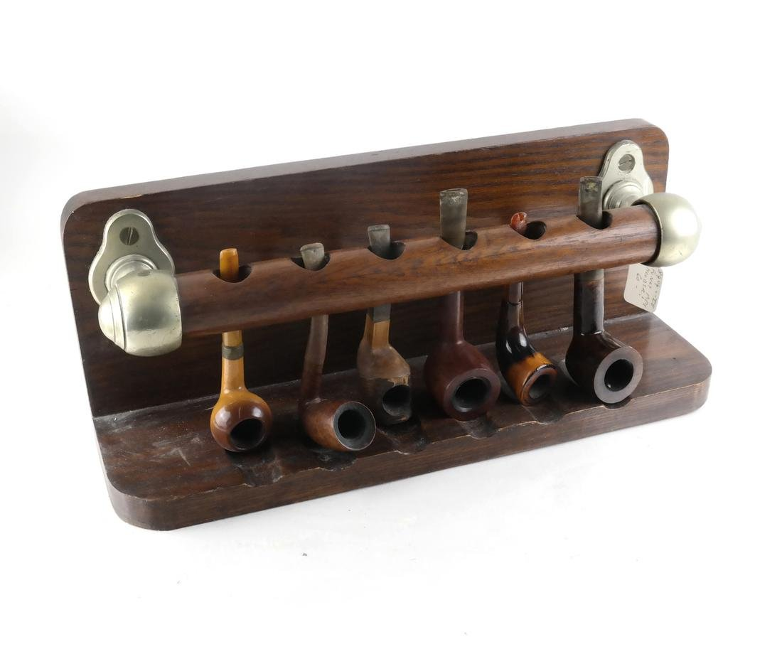 Victorian Oak & Brass Pipe Rail and Six Pipes