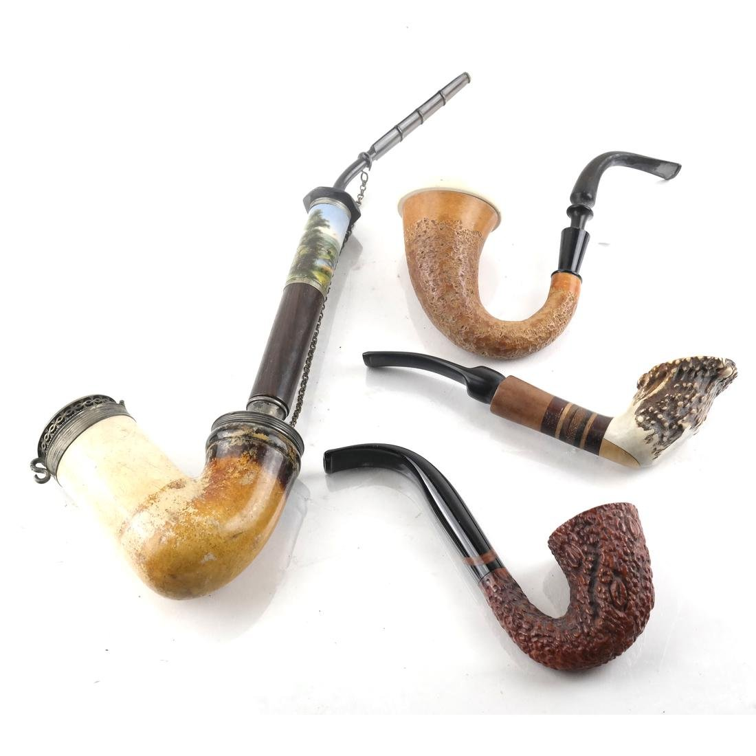 Four Pipes, One Meerschaum W/ Porcelain & Silver Mounts