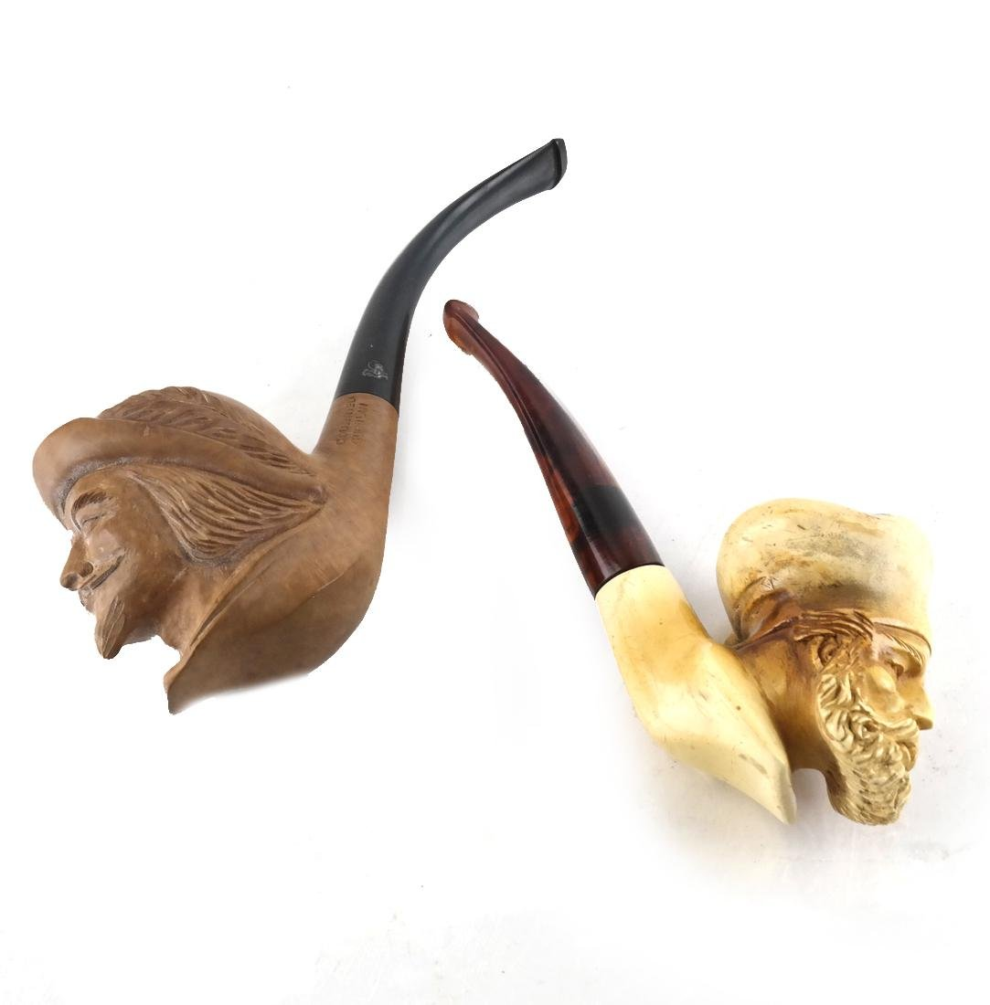 Two Antique Carved Meerschaum Pipes