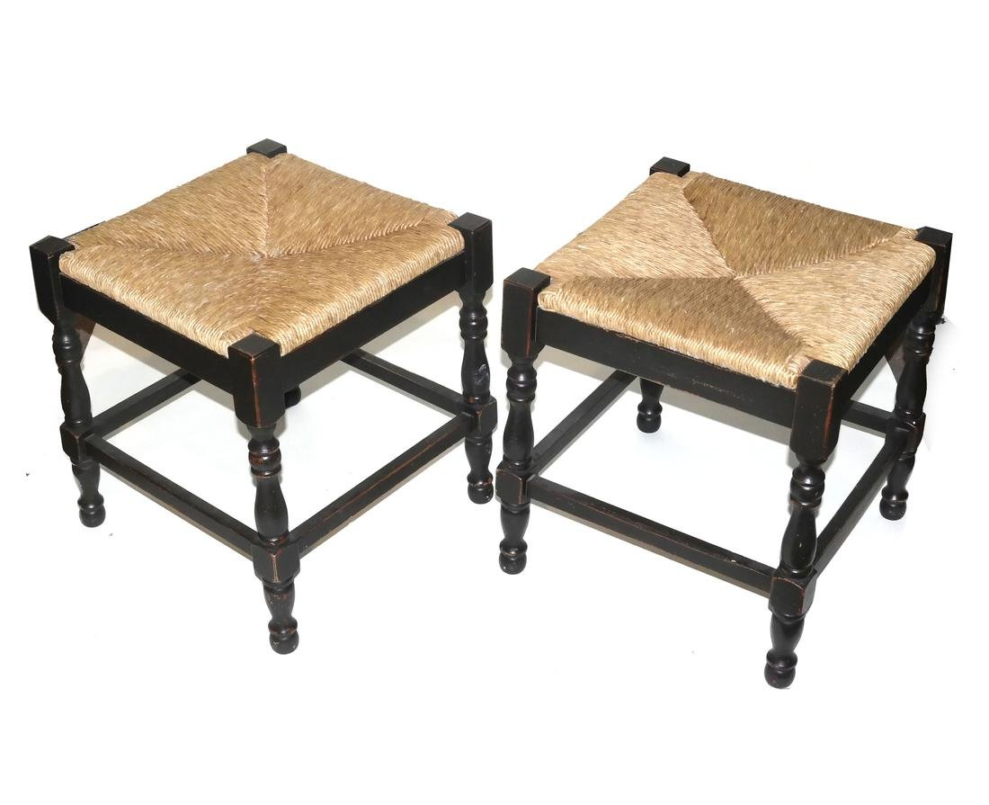 Pair of Tudor-Style Rush Seat Benches