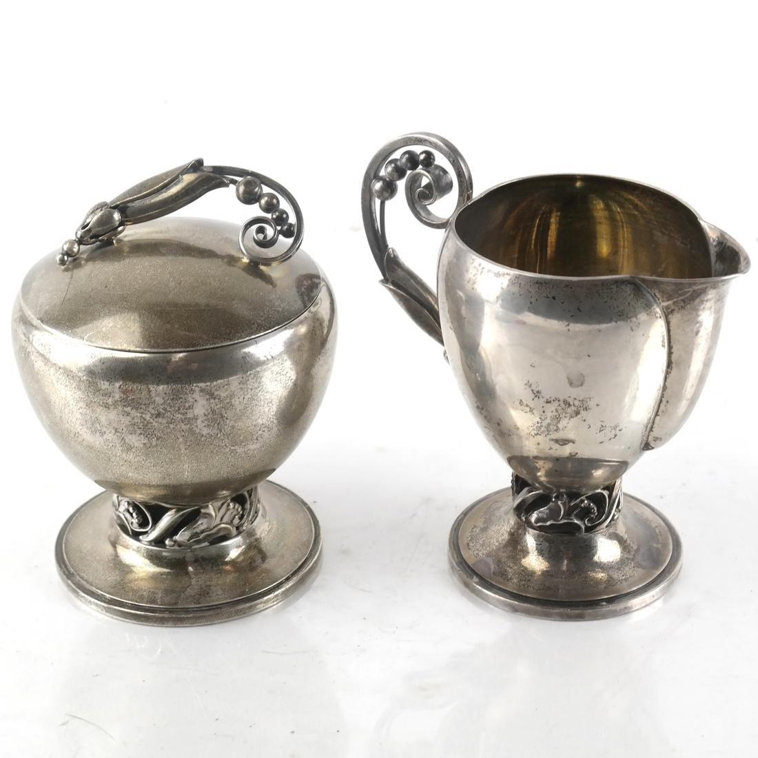 Georg Jensen, Silver Sugar Bowl and Creamer
