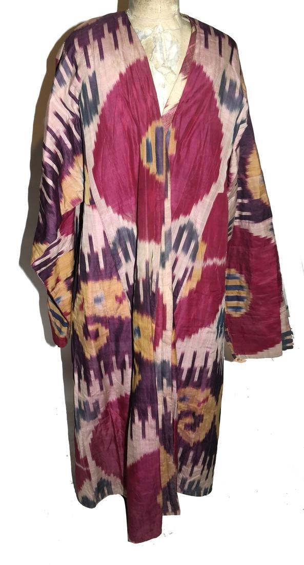 19th Century Uzbek Silk Ikat Chapan