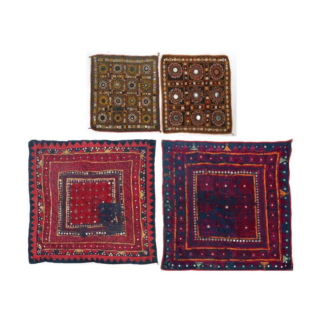 Four Antique Indian Banjara Mirrored Textile Panels