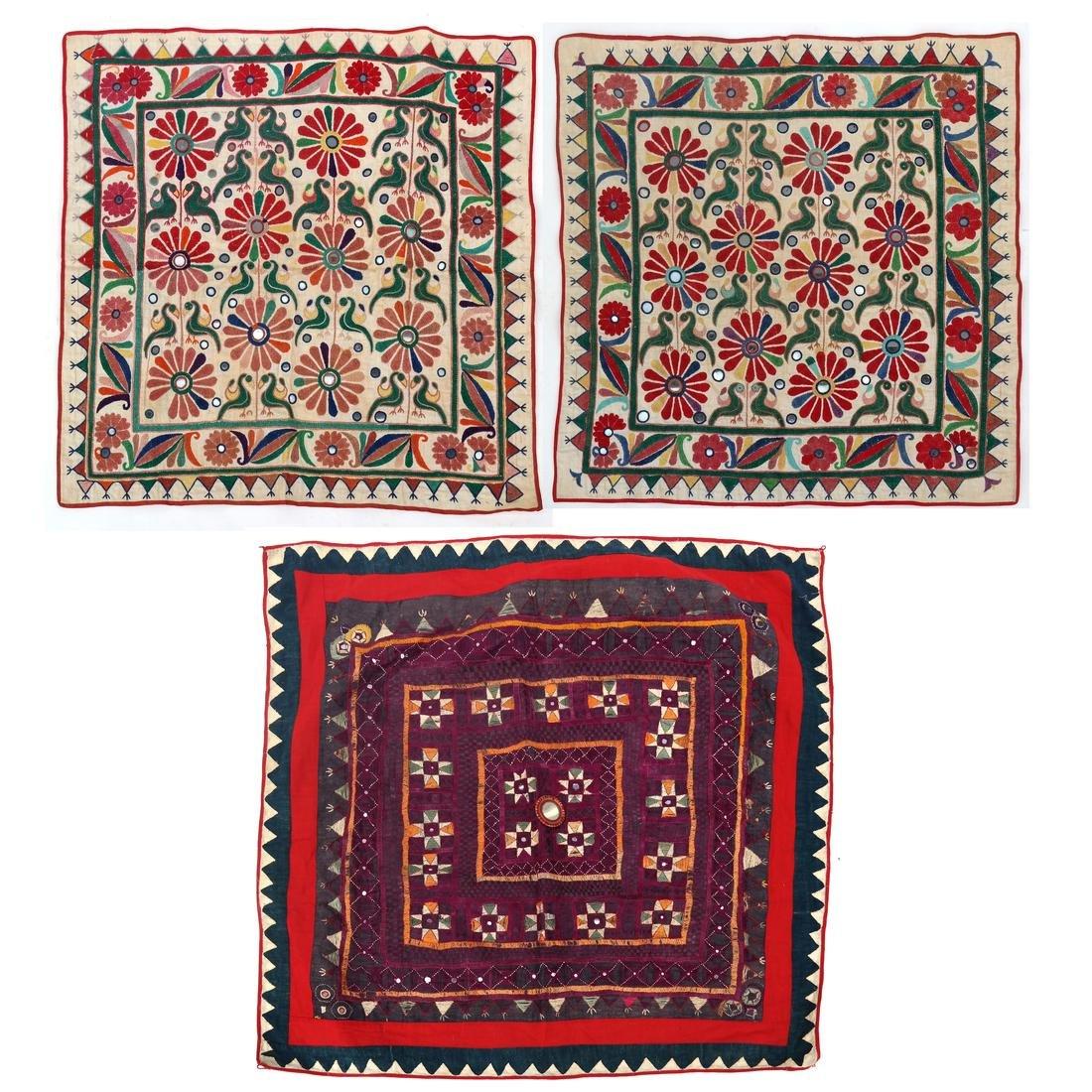 Three Antique Indian Banjara Mirrored Textile Panels
